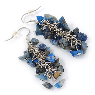 Blue Semiprecious Stone Drop Earring In Silver Tone - 55mm L