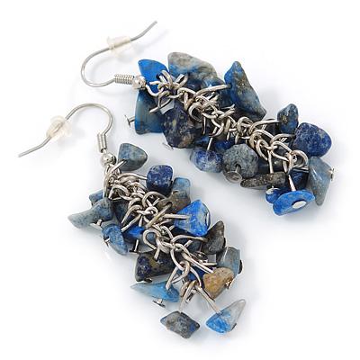 Blue Semiprecious Stone Drop Earring In Silver Tone - 55mm L