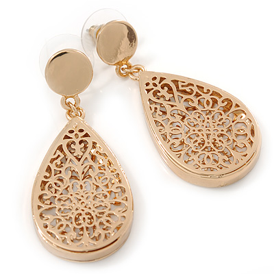 Gold Plated Floral Filigree Teardrop Earrings - 45mm L - main view