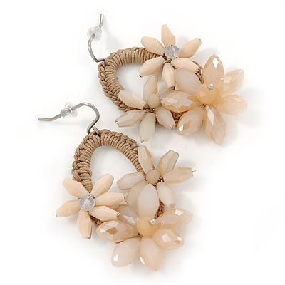 Caramel/ Beige Crystal Bead Floral Oval Hoop Earrings (Silver Tone) - 55mm L