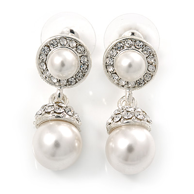 Bridal/ Wedding White Glass Pearl, Clear Crystal Ball Drop Earrings In Rhodium Plating - 30mm L