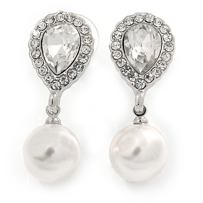 Bridal Wedding Prom Glass Pearl, Crystal Teardrop Earrings In Rhodium Plating - 30mm L - main view