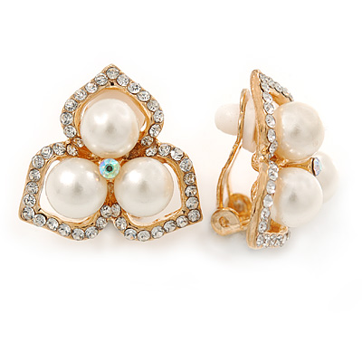Clear Crystal, Glass Pearl Three Petal Flower Clip On Earrings In Gold Tone - 20mm L