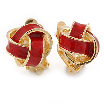 Red Enamel Knot Clip On Earrings In Gold Plating - 17mm L