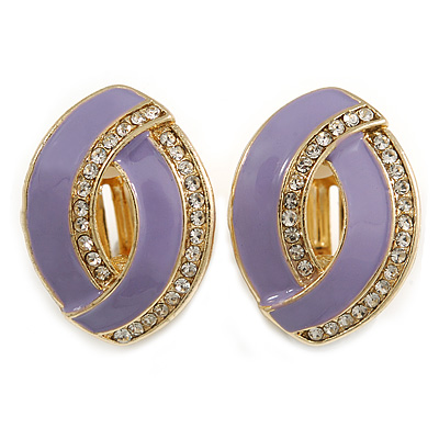 Lavender Enamel Clear Crystal Oval Clip On Earrings In Gold Plaiting - 23mm L