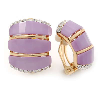 C Shape Lavender Acrylic, Clear Crystal Clip On Earrings In Gold Plating - 20mm L - main view