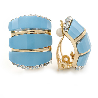C Shape Light Blue Acrylic, Clear Crystal Clip On Earrings In Gold Plating - 20mm L