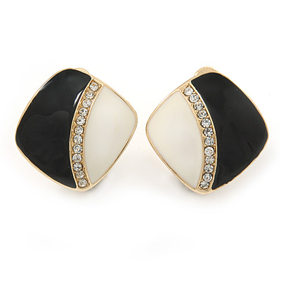 Black/ Cream Enamel Crystal Square Clip On Earrings In Gold Plating - 20mm