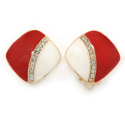 Red/ White Enamel Crystal Square Clip On Earrings In Gold Plating - 20mm - main view