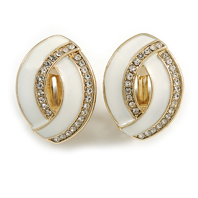 White Enamel Clear Crystal Oval Clip On Earrings In Gold Plaiting - 23mm L