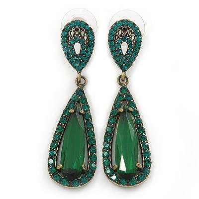 Emerald Green Swarovski Elements Crystal Teardrop Earrings In Antique Gold Metal - 50mm L