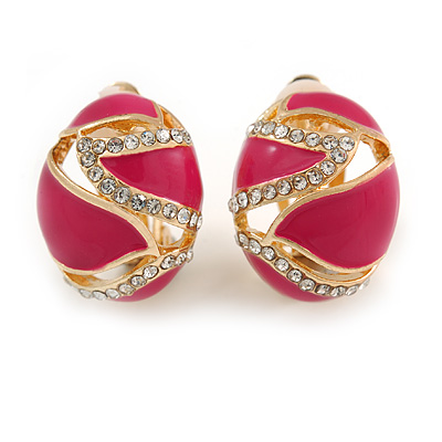 Oval Magenta Pink Enamel, Clear Crystal Clip On Earrings In Gold Plating - 20mm L