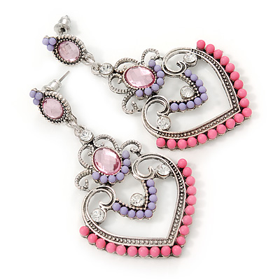 Lavender/ Pink Acrylic Bead, Clear Crystal Chandelier Earrings In Silver Tone - 60mm L