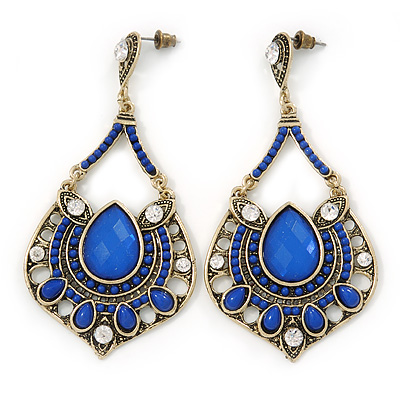Vintage Inspired Blue Acrylic Bead, Clear Crystal Chandelier Earrings In Gold Tone - 80mm L