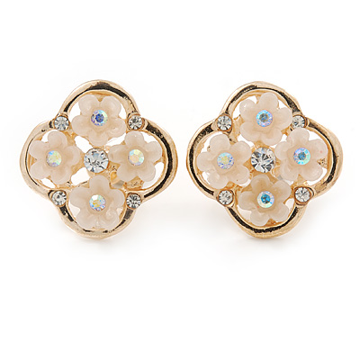 Gold Tone Cream Acrylic, Clear Crystal Floral Stud Earrings - 16mm - main view