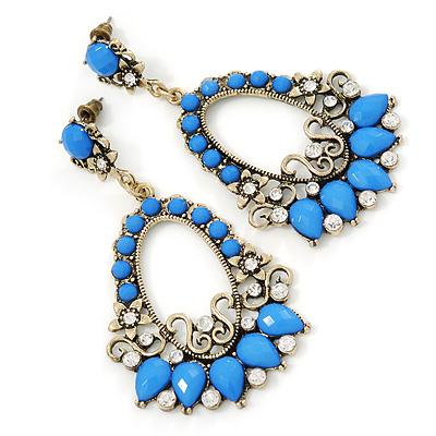 Blue Acrylic Bead, Clear Crystal Chandelier Earrings In Gold Tone - 75mm L