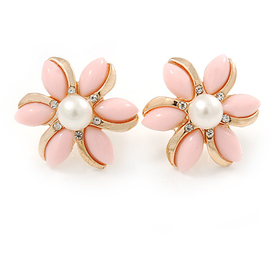 Baby Pink Acrylic, Crystal Flower Stud Earrings In Gold Tone - 20mm D - main view