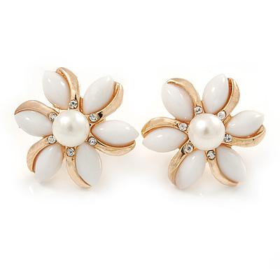 White Acrylic, Crystal Flower Stud Earrings In Gold Tone - 20mm D