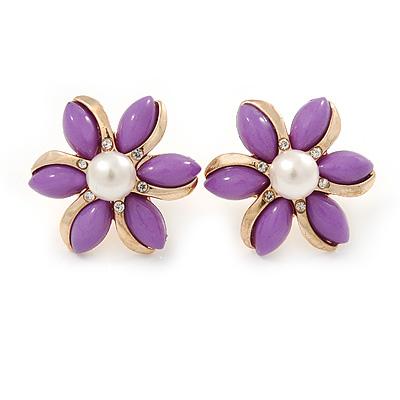 Purple Acrylic, Crystal Flower Stud Earrings In Gold Tone - 20mm D