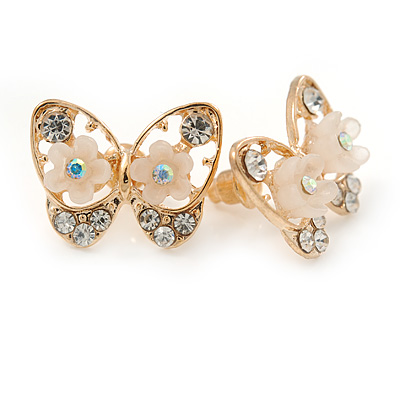 Gold Plated, Crystal with Nude Flowers Stud Butterfly Earrings - 20mm W