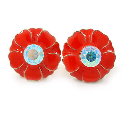 Orange Enamel Crystal Daisy Stud Earrings In Gold Tone - 15mm D