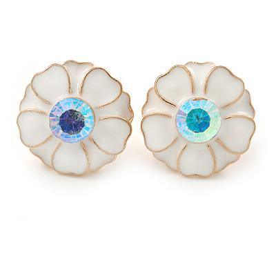 White Enamel Crystal Daisy Stud Earrings In Gold Tone - 15mm D