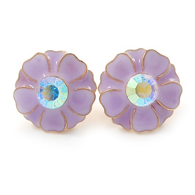 Light Purple Enamel Crystal Daisy Stud Earrings In Gold Tone - 15mm D