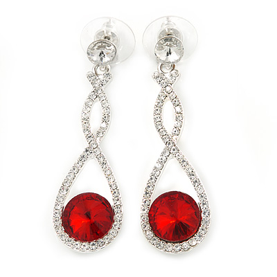 Bridal/ Prom/ Wedding Red/ Clear Austrian Crystal Infinity Drop Earrings In Rhodium Plating - 50mm L - main view