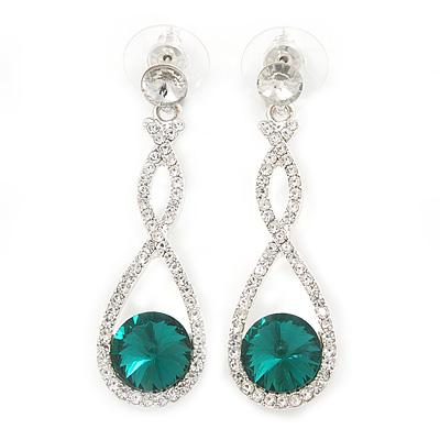 Bridal/ Prom/ Wedding Emerald Green/ Clear Austrian Crystal Infinity Drop Earrings In Rhodium Plating - 50mm L - main view