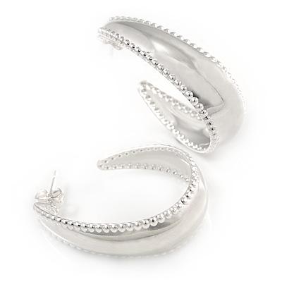 Medium Half Hoop Earrings In Silver Plated Metal - 30mm L