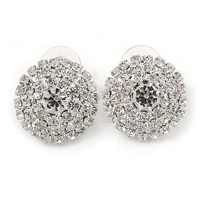 Bridal Silver Tone Clear Crystal Dome Shape Stud Earrings - 25mm L