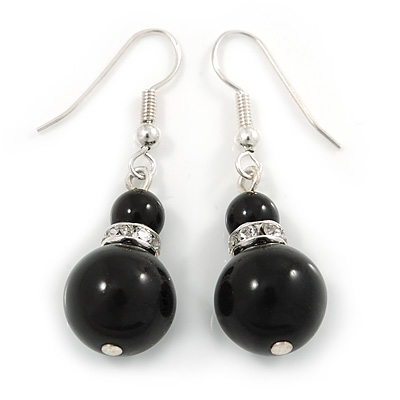 Black Ceramic Bead with Crystal Ring Drop Earrings In Silver Tone - 40mm L