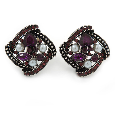 Marcasite Square Deep Purple Crystal, White Peal Clip On Earrings In Antique Silver Tone - 20mm L
