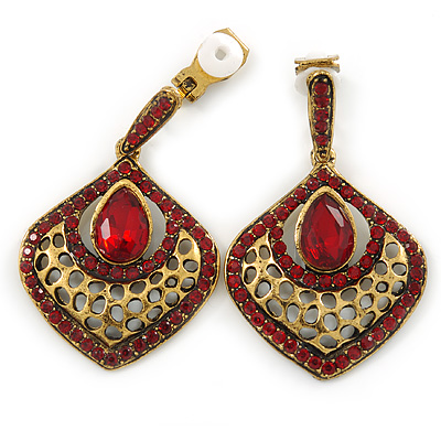 Vintage Inspired Ruby Red Crystal Teardrop Clip On Earrings In Antique Gold Tone - 40mm L