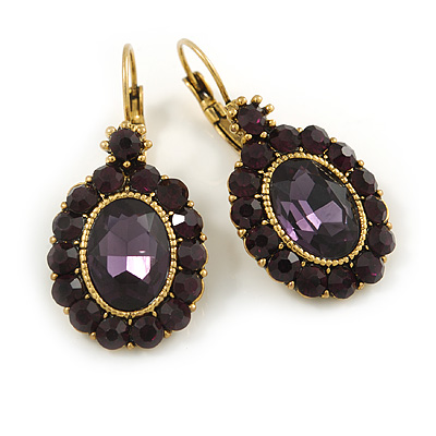 Vintage Inspired Oval Deep Purple Crystal Drop Earrings with Leverback Closure In Antique Gold Tone - 42mm L