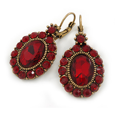 Vintage Inspired Oval Red Crystal Drop Earrings with Leverback Closure In Antique Gold Tone - 40mm L