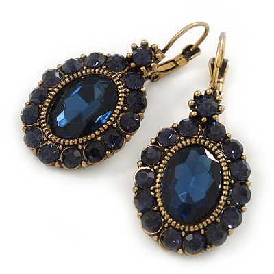 Vintage Inspired Oval Midnight Blue Crystal Drop Earrings with Leverback Closure In Antique Gold Tone - 42mm L