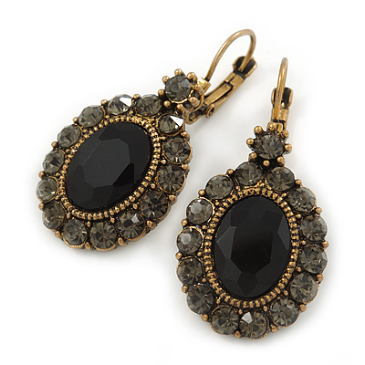 Vintage Inspired Oval Black/ Grey Crystal Drop Earrings with Leverback Closure In Antique Gold Tone - 42mm L