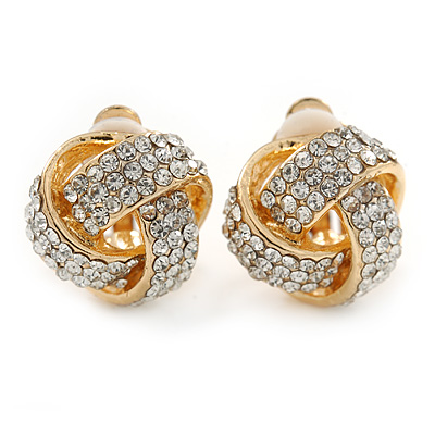 Gold Tone Clear Crystal Knot Clip On Earrings - 15mm L