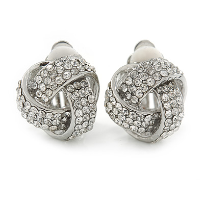 Silver Tone Clear Crystal Knot Clip On Earrings - 15mm L