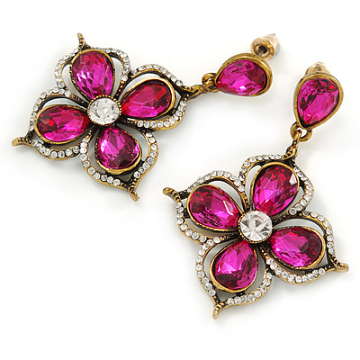 Vintage Inspired Fuchsia/ Clear Flower Drop Earrings In Antique Gold Tone - 50mm L