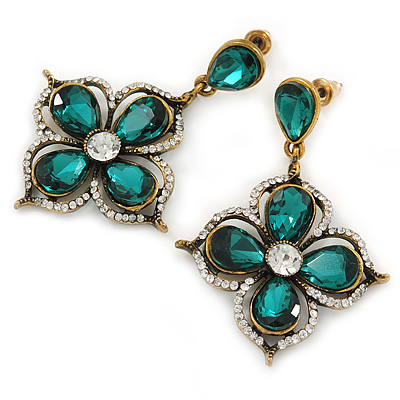 Vintage Inspired Emerald Green/ Clear Flower Drop Earrings In Antique Gold Tone - 50mm L - main view