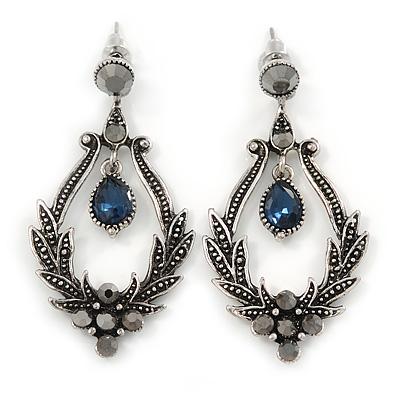 Victorian Style Hematite/ Dark Blue Crystal Drop Earrings In Antique Silver Tone Metal - 55mm L