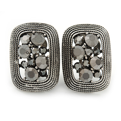 Vintage Inspired Hematite Crystal Rectangular Clip On Earrings In Antique Silver - 25mm L