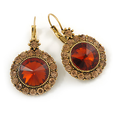 Vintage Inspired Round Cut Champagne/ Amber Glass Stone Drop Earrings With Leverback Closure In Antique Gold Metal - 40mm L
