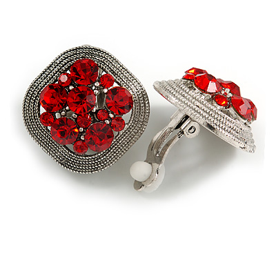 Vintage Inspired Red Crystal Square Clip On Earrings In Antique Silver - 23mm L