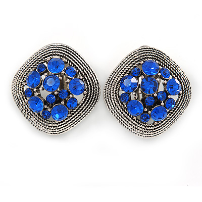 Vintage Inspired Sapphire Blue Crystal Square Clip On Earrings In Antique Silver - 23mm L