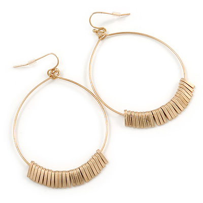 Brushed Gold Metal Hoop Earrings With Multi Bar Charms - 65mm L