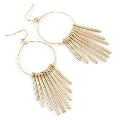 Brushed Gold Metal Slim Hoop Earrings With Multi Bar Charms - 85mm L
