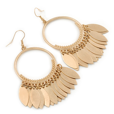Brushed Gold Tone Hoop Earrings With Multi Leaf Charms - 75mm L
